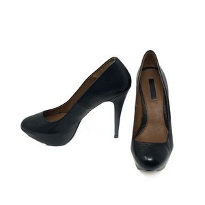 ZARA Woman Black Leather Nubuck Platform Pumps